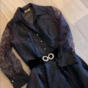 Vintage black lace blouse, skirt and velvet belt